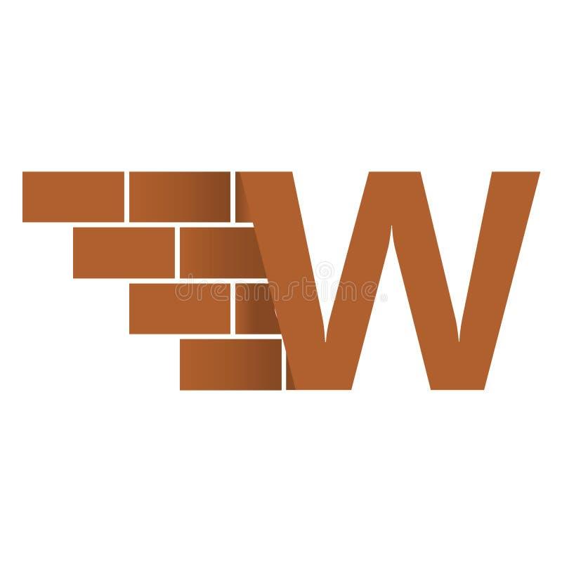 W brievenembleem, het ontwerp van het bakstenen muurembleem met plaats voor uw gegevens royalty-vrije illustratie