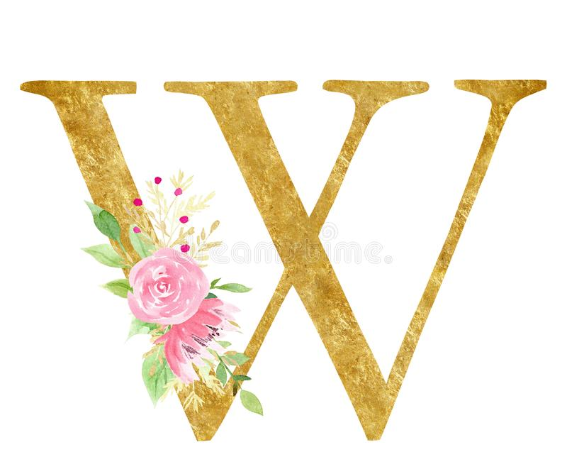 W-Buchstabe mit Blumenknospen-Rasterillustration vektor abbildung