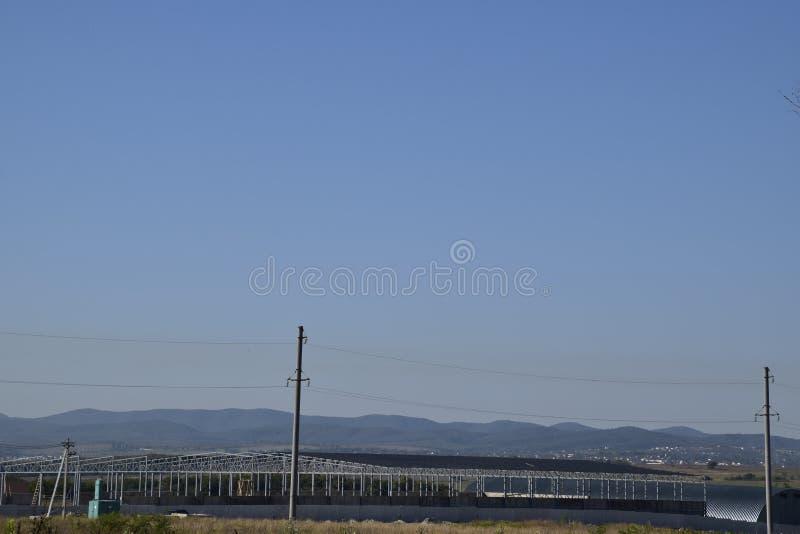 W budowie hangar Budynek metal rama zdjęcie stock