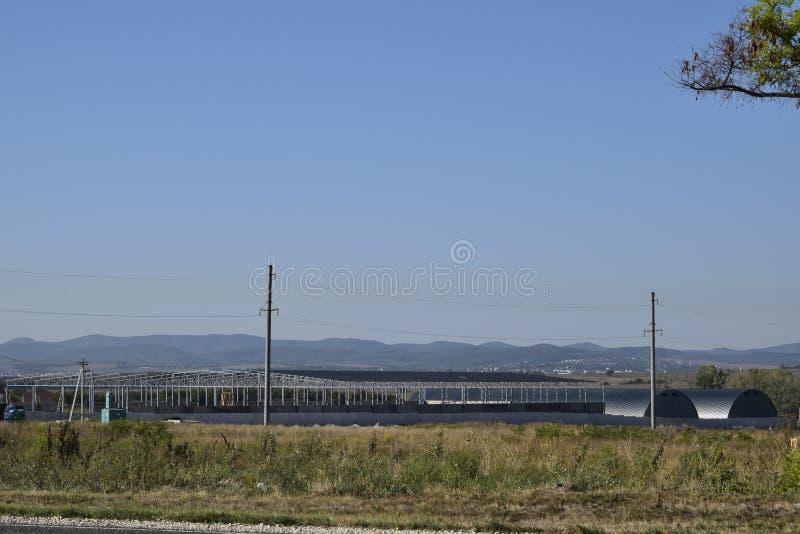 W budowie hangar Budynek metal rama obrazy royalty free