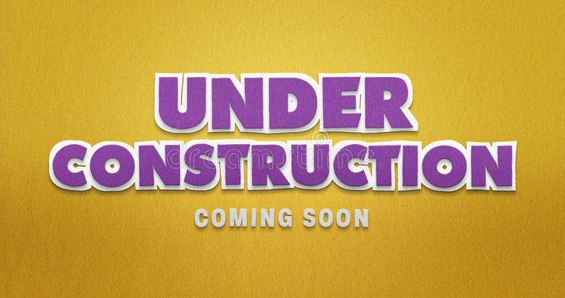 W budowie niedługo przyjedzie Purpury & kolor żółty struktura papierowej obrazy royalty free