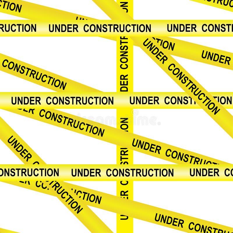 W budowie wejście zabraniający ostrożności taśmy tła ostrzeżenia bezszwowej żółtej ostrożności taśmy tasiemkowy wektor na białym  ilustracji