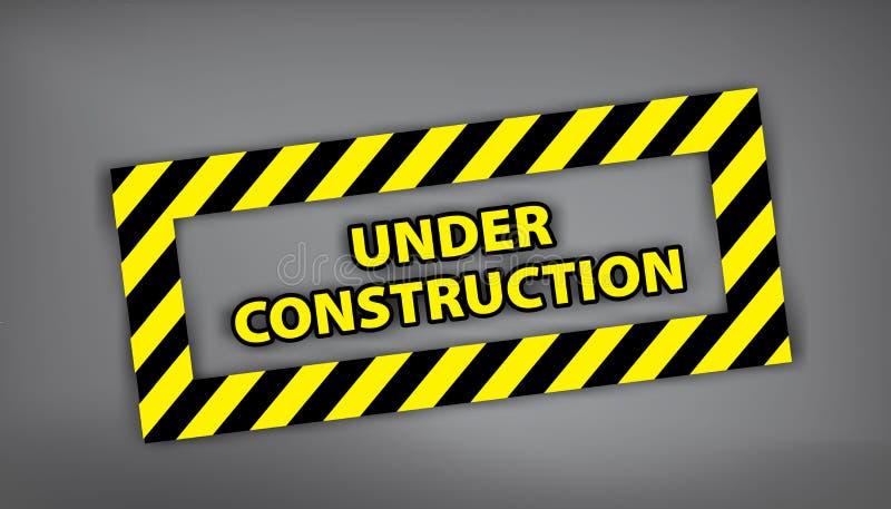 W budowie znak na szarym tle Wektorowa ilustracja dla strony internetowej W budowie znaczek z czernią i żółtym lampasem ilustracja wektor