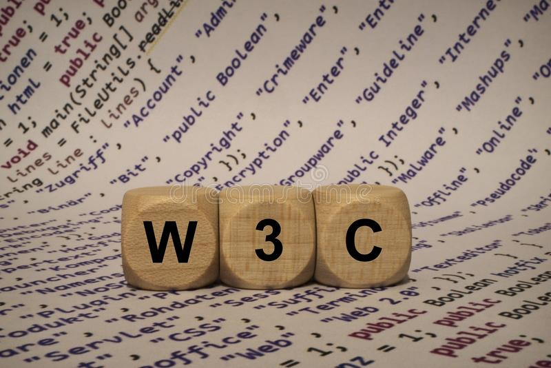 W3c - cube with letters and words from the computer, software, internet categories, wooden cubes. Wooden cubes with words from the computer, software, internet royalty free stock image