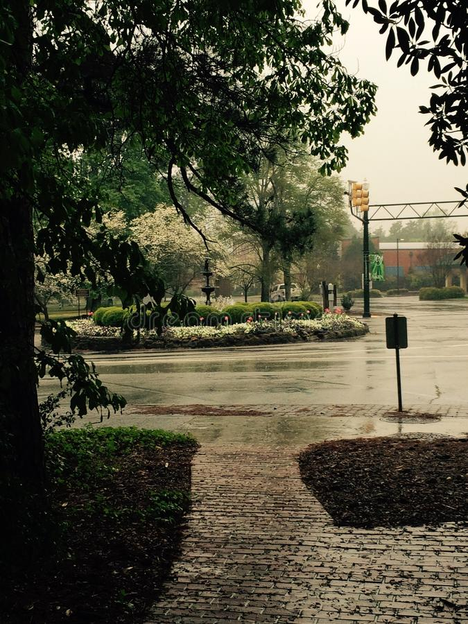 W centrum Aiken fontanna fotografia royalty free