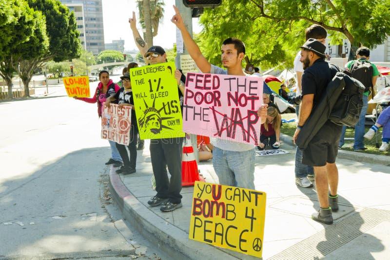 w centrum Angeles los angeles los zajmuje protestujących fotografia stock