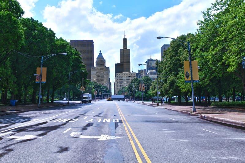 W centrum Chicagowski linia horyzontu Uwypukla Willis wierza obrazy royalty free