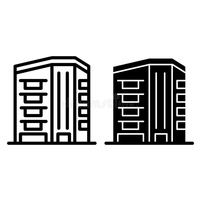 W centrum drapacz chmur linia i glif ikona Architektury wektorowa ilustracja odizolowywająca na bielu Budować konturu styl ilustracja wektor