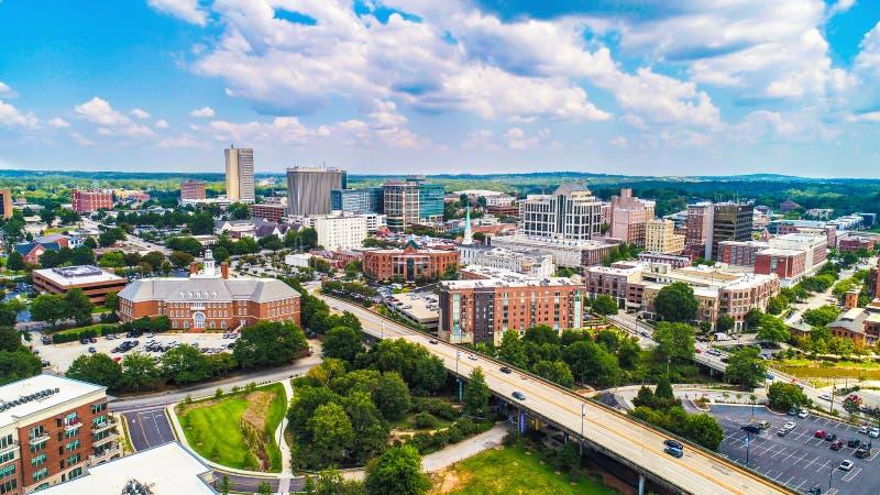W centrum Greenville, Południowa Karolina, Stany Zjednoczone linia horyzontu zdjęcia stock