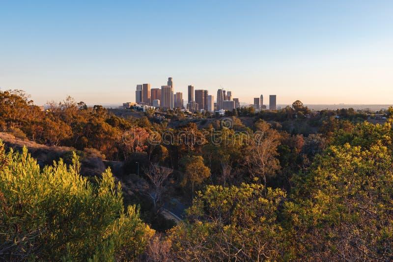 W centrum Los Angeles linia horyzontu, 2015 obraz royalty free