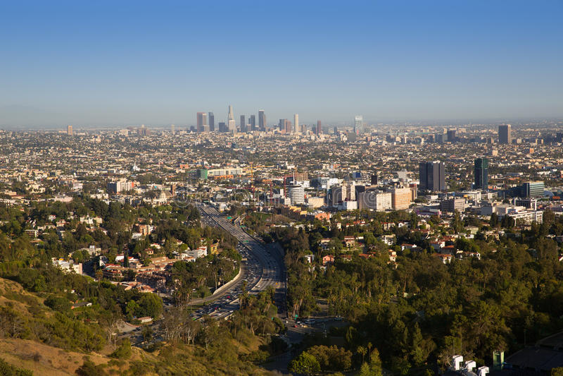 W centrum losu angeles Los Angeles linia horyzontu Kalifornia obrazy royalty free