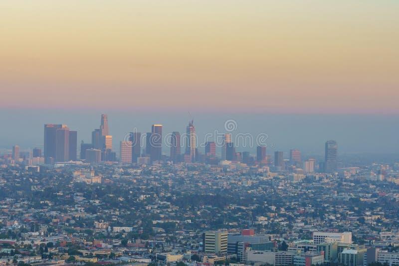 W centrum losu angeles Los Angeles linii horyzontu pejzaż miejski Kalifornia zdjęcia stock