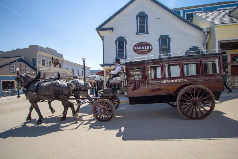 W centrum Mackinaw wyspy ulicy scena zdjęcia royalty free