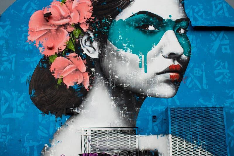 W centrum Miami, usa, 27 decembre, 2018 //zadziwiać, kolorowa ścienna sztuka Wynwood ściany w Wynwood projekta okręgu, obrazy royalty free