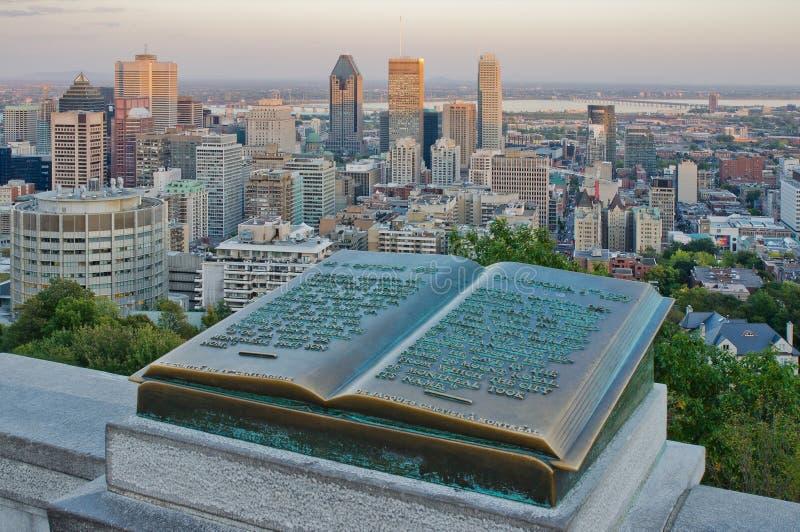 W centrum Montreal i Plakieta Jacques Cartier obraz stock