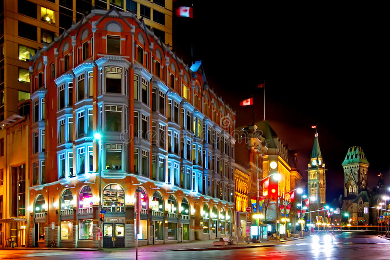 w centrum noc Ottawa obraz stock