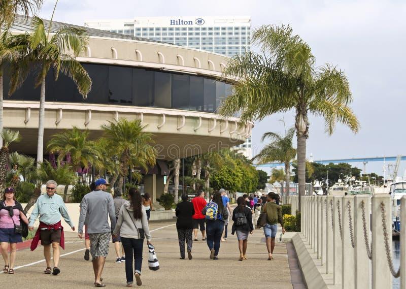 W centrum San Diego nabrzeża scena Blisko Marriott markiza obrazy stock