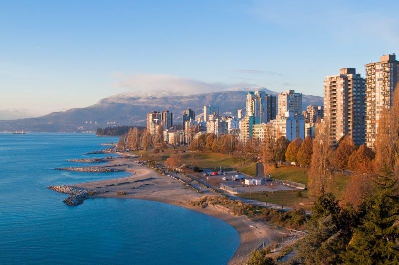 w centrum zmierzch Vancouver obraz stock