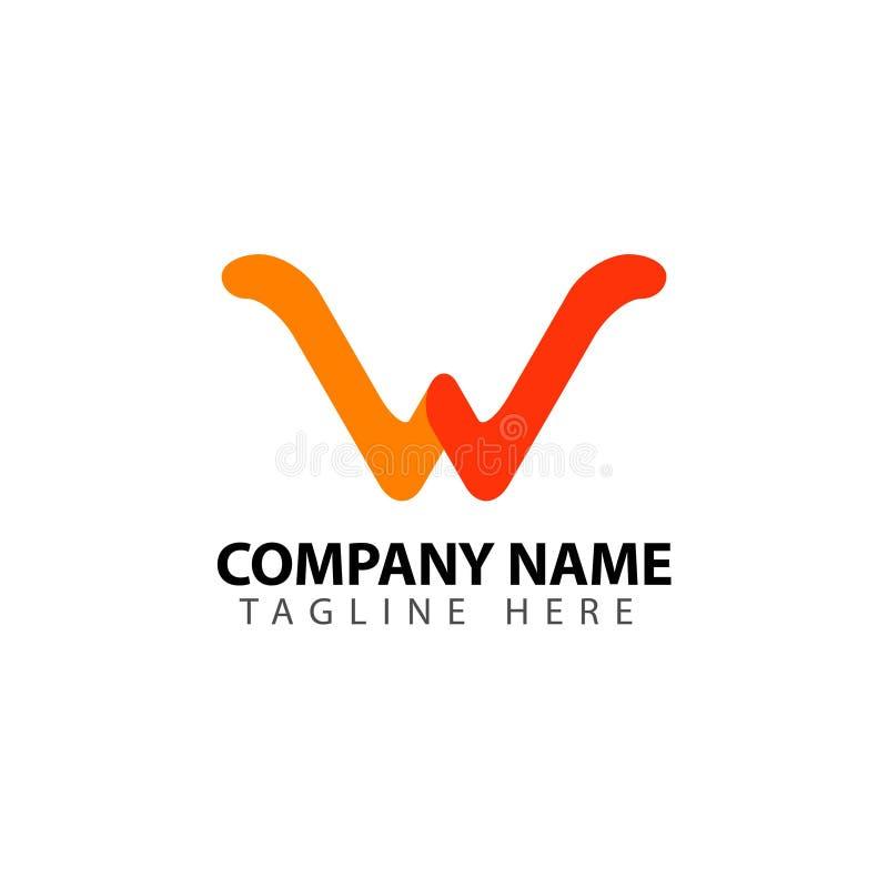 W Company Logo Vector Template Design Illustration lizenzfreie abbildung