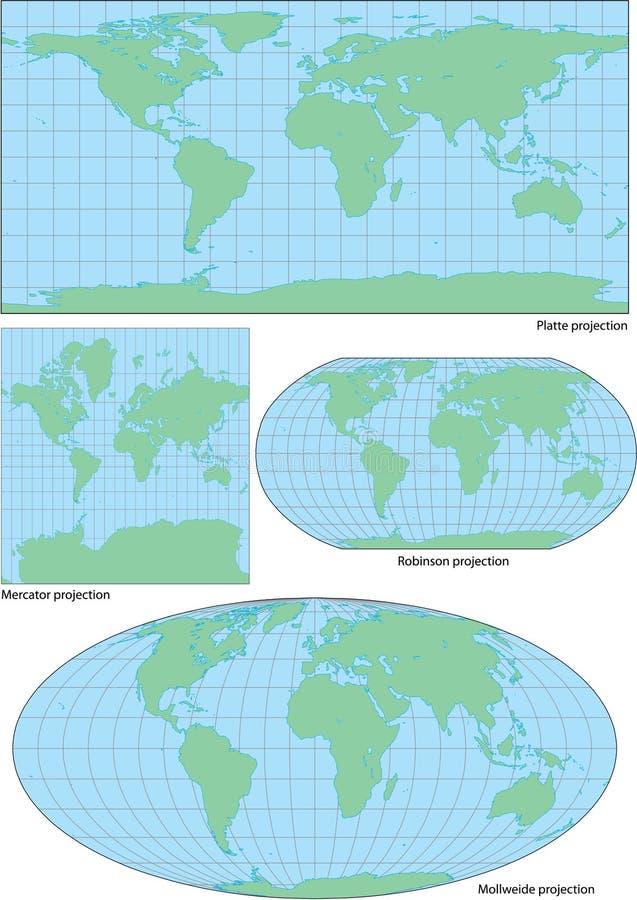 W cztery projekcjach wektorowa światowa konturowa mapa royalty ilustracja