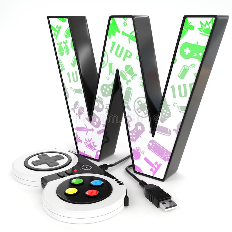 `W` 3d letter with video game controller. Green and purple video game icons painted over `W` 3d letter with video game controller royalty free illustration