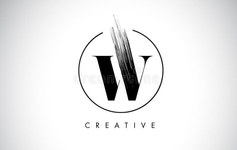 W de Brief Logo Design van de Borstelslag Zwarte Verf Logo Leters Icon royalty-vrije illustratie