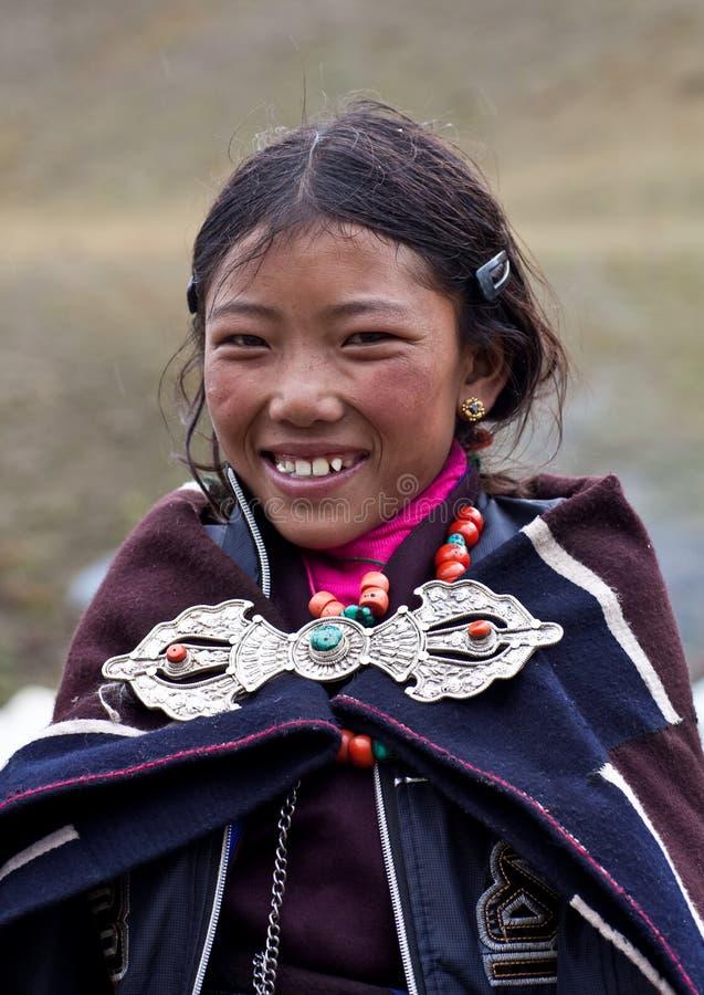 W Dolpo tybetańska dziewczyna, Nepal fotografia royalty free