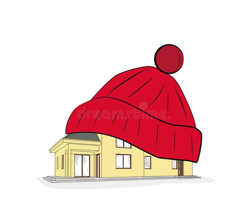 W domu w ciepłym zima kapeluszu również zwrócić corel ilustracji wektora royalty ilustracja