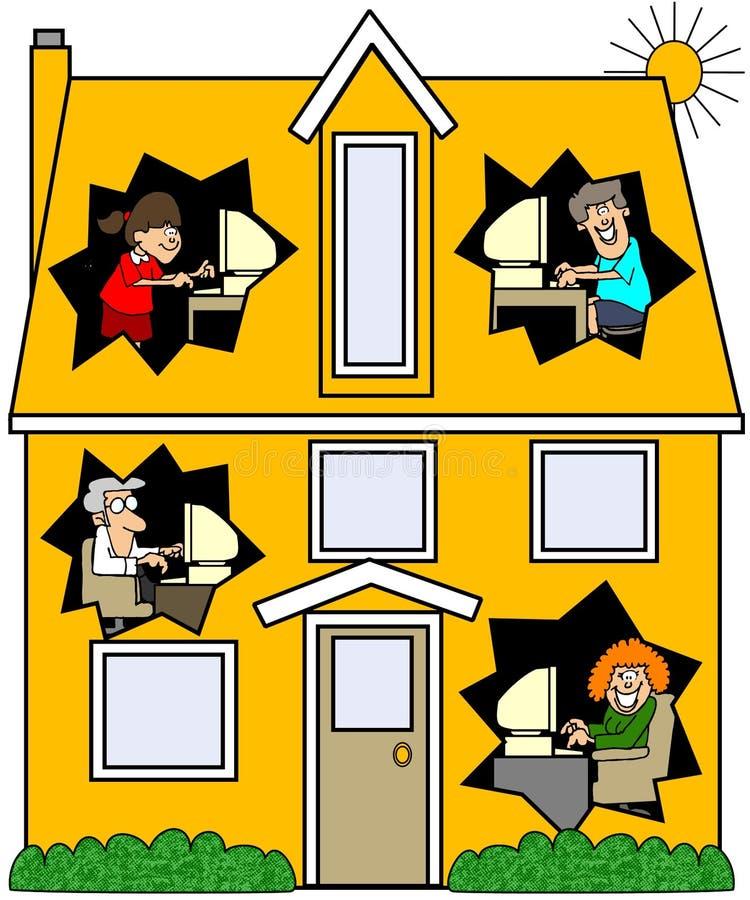 w domu połączony w sieci ilustracja wektor