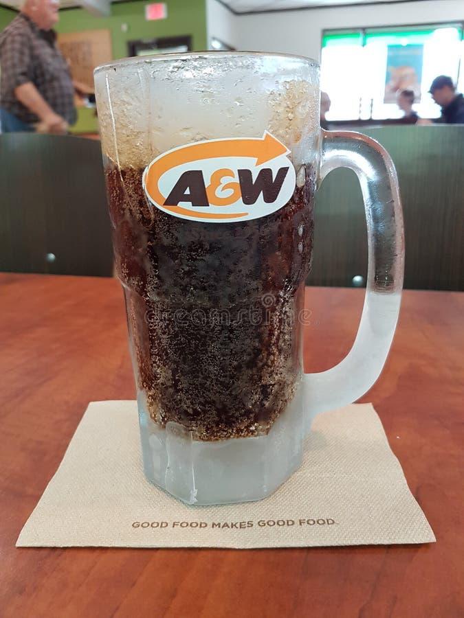 A&W-exponeringsglas av läskedryck smaksatt med växtextrakt fotografering för bildbyråer