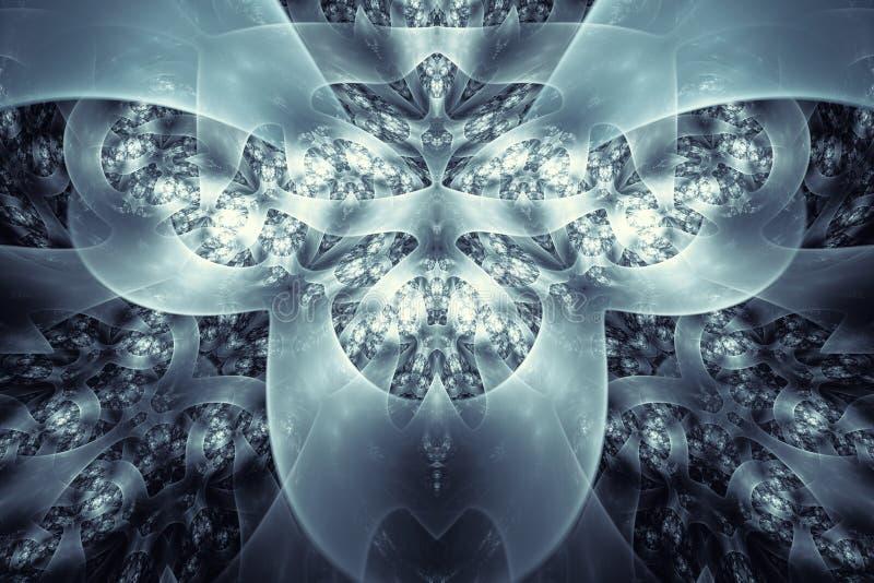 w fractal abstrakcyjne Wysoce szczegółowy tło w cyan i błękicie tonuje z elementami spirale, linie i wzory, Dla y ilustracja wektor