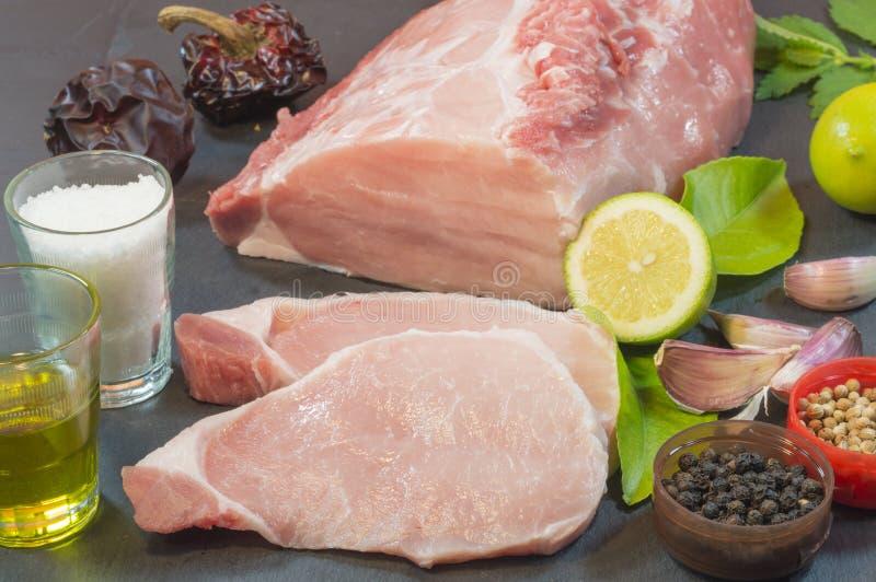 w górę biel tło wieprzowina zamknięta mięsna zdjęcie stock