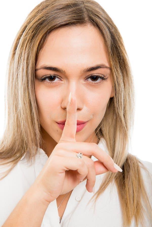 W górę biznesowej kobiety robi cisza gestowi zdjęcia royalty free