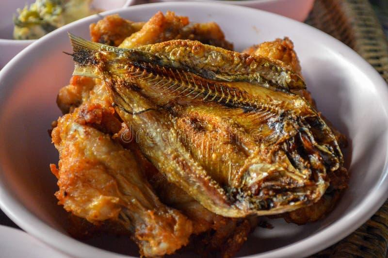 W górę Crispy smażącego pieczonego kurczaka i ryby zdjęcia stock