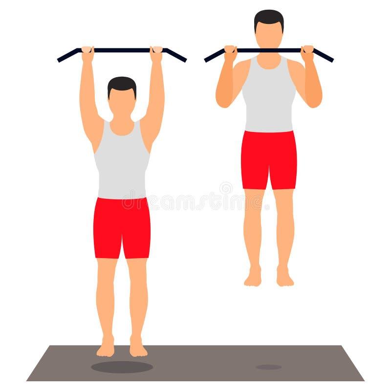 W górę crossbar na Męska atleta wykonuje ćwiczenie Spo ilustracja wektor
