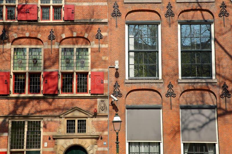 W górę fasady Pagehuis na, intymny dom budujący w 17 wieku i lokalizować na Lange Voorhout zdjęcia royalty free