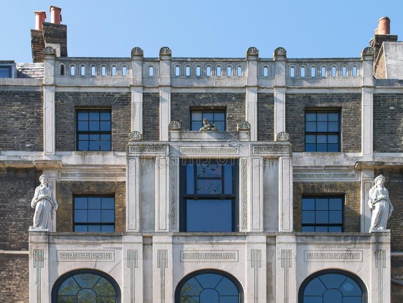 W górę fasady Sir John Soan&-x27; s muzeum obrazy stock