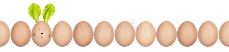 W górę fotografii hen's jajka z eggshell teksturą z rzędu Jeden jajko Wielkanocnego królika ucho robić sałatkowi liście i śmies obrazy stock