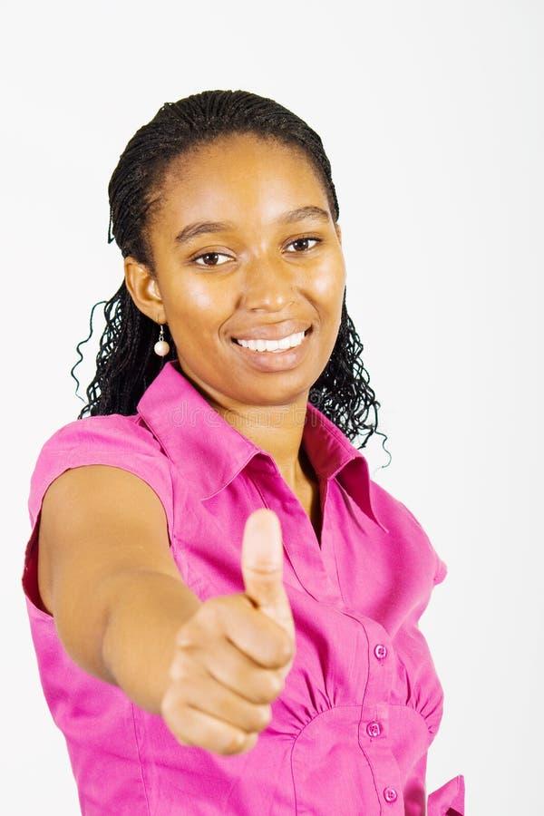 w górę kobiety afrykański kciuk fotografia stock
