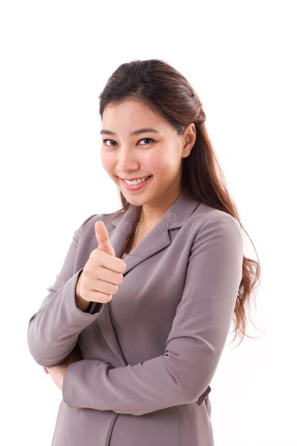 w górę kobiety biznesowy daje kciuk obraz royalty free