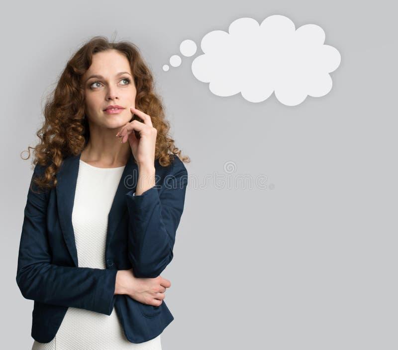 w górę kobiety biznesowy przyglądający główkowanie obraz stock