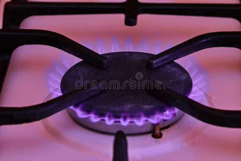 W górę kuchennej kuchenki kucharza z błękitnych płomieni palić Zbliżenie strzał błękita ogień od domowej kuchennej kuchenki obrazy royalty free