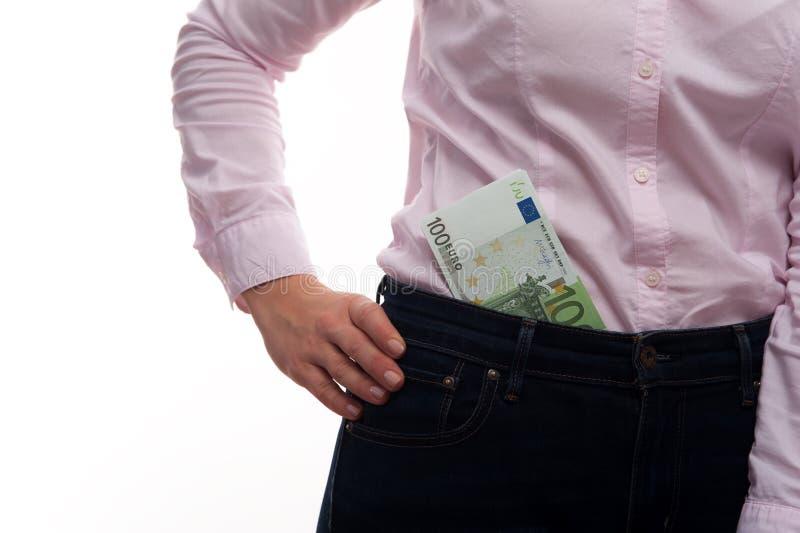W górę - młodej biznesowej kobiety mienia pieniądze gotówki 100 euro rachunków obrazy royalty free