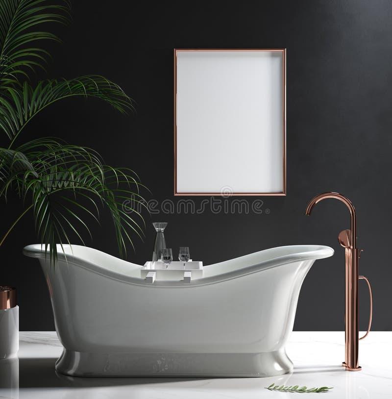 W górę plakat ramy w luksusowej minimalistycznej łazience obraz stock