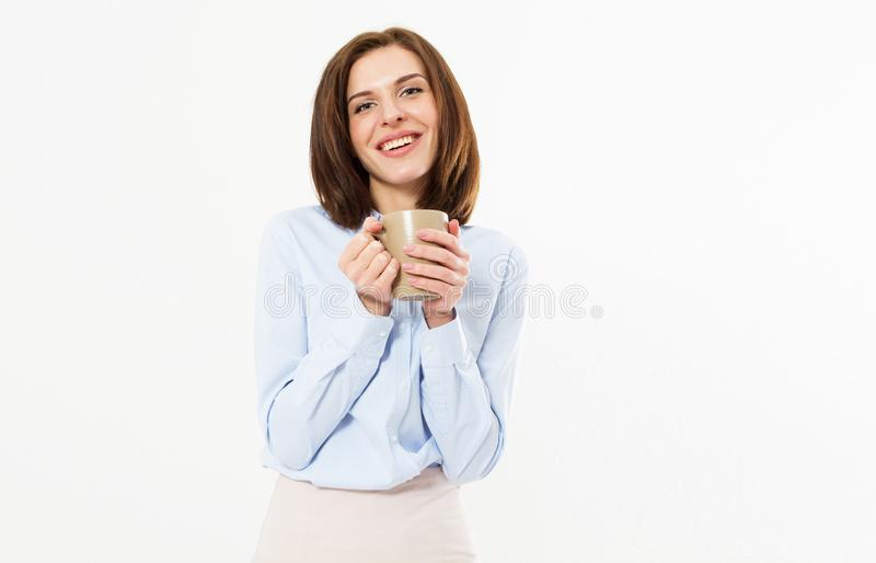 W górę portreta atrakcyjna dosyć urocza elegancka ładna śliczna rozochocona szczęśliwa piękna brunetki kobieta w klasycznej koszu obraz royalty free