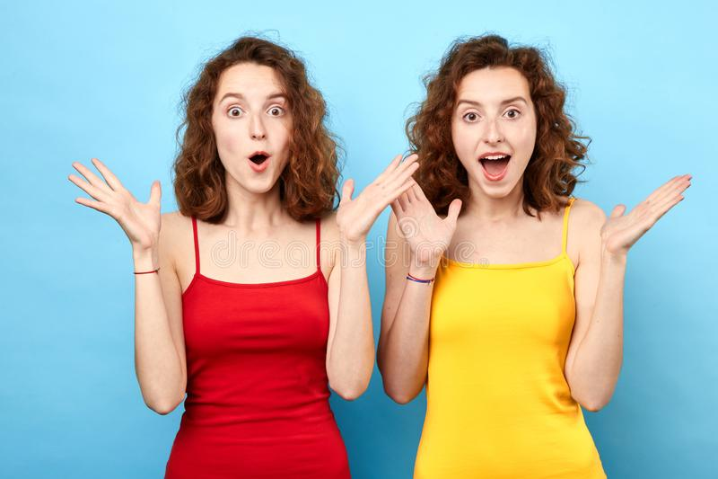 W górę portreta młoda emocjonalna zdziwiona dwa kobiety z rozpieczętowanym usta obraz royalty free