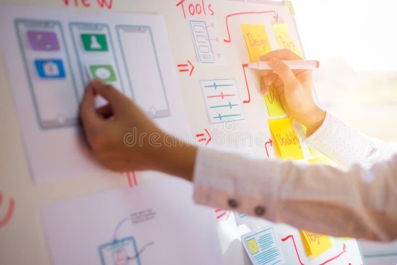 W górę ręki projektant kobiety rodzaju układ rysunkowy zastosowanie dla rozwijać dla mobilnych zastosowań Użytkownika doświadczen zdjęcie royalty free