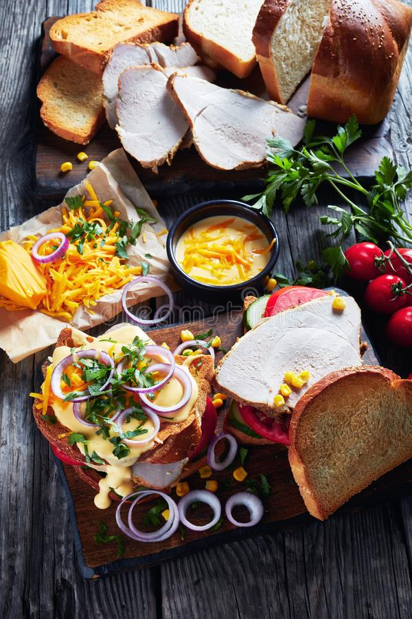 W górę smakowitych domowej roboty kanapek z baleronem zdjęcie royalty free