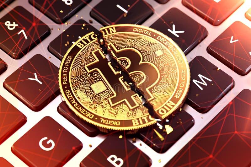 W górę strzału Bitcoin rozłam w dwa kawałkach na klawiaturze Cryptocurrencies używał dla przestępstwa pojęcia świadczenia 3 d royalty ilustracja