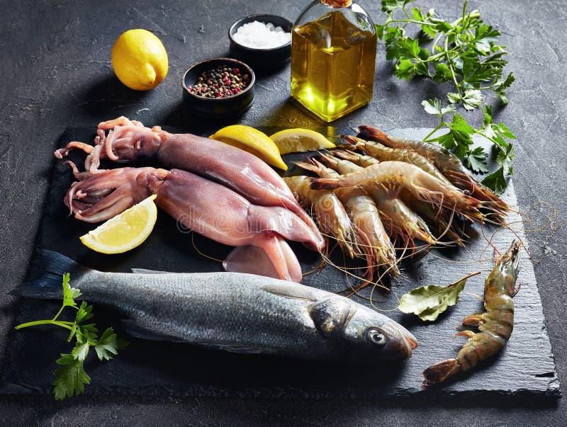 W górę surowego dennego basu, garnele, calamari obraz royalty free